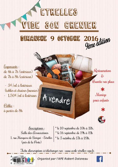Affiche vide grenier Etrelles 2016